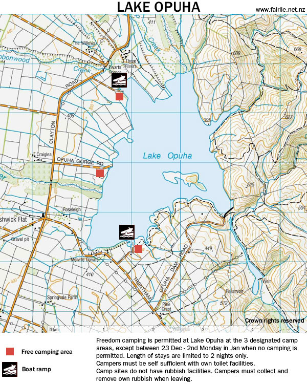 Freedom camping is permitted at Lake Opuha at the 3 designated camp areas, except between 23 Dec - 2nd Monday in Jan when no camping is permitted. Length of stays are limited to 2 nights only. Campers must be self sufficient with own toilet facilities. Camp sites do not have rubbish facilities. Campers must collect and remove own rubbish when leaving./></p> <p class=